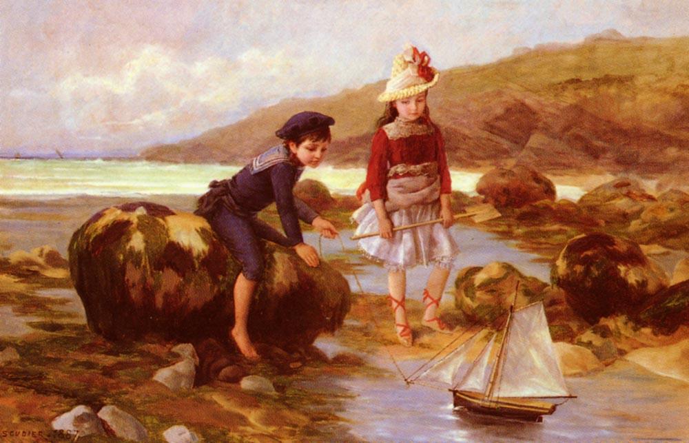 Enfants Pechant :: Charles Jean Auguste Escudier  - Children's portrait in art and painting ôîòî
