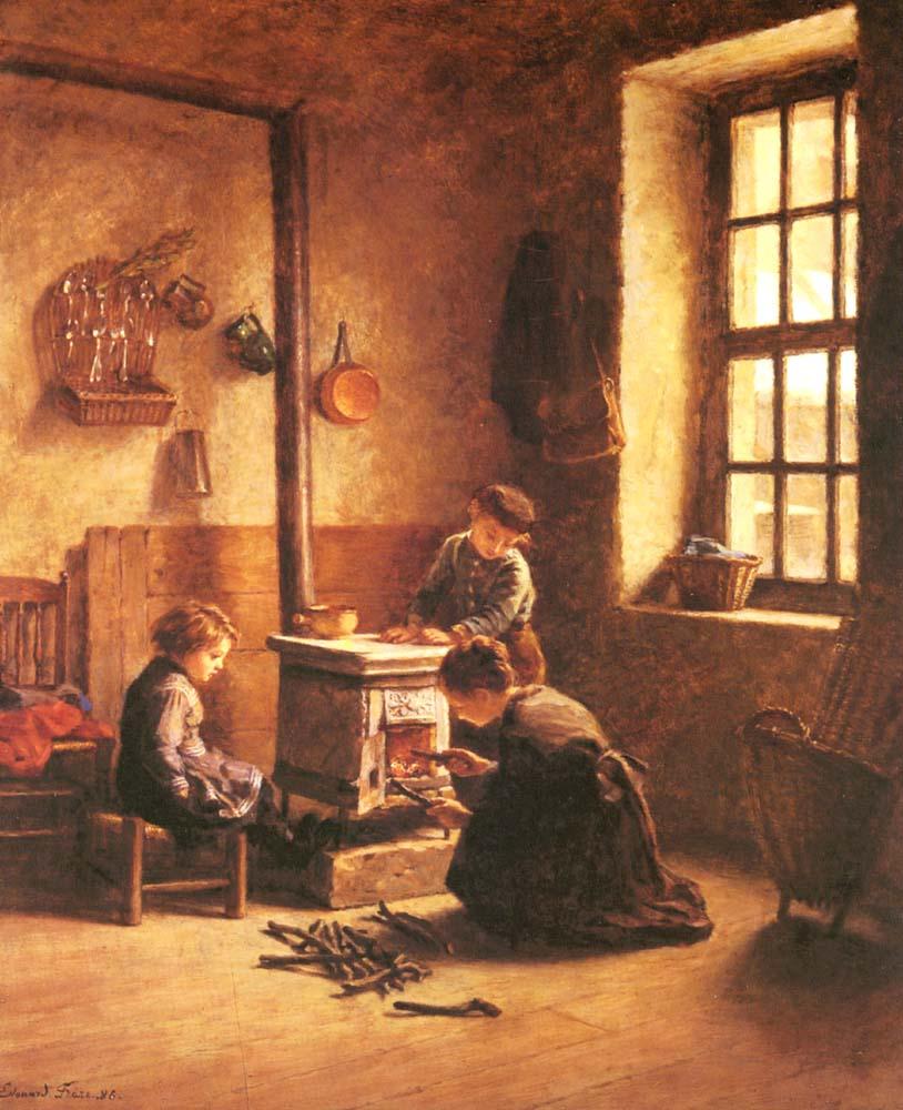 Lighting the Stove :: Edouard Frиre - Children's portrait in art and painting ôîòî