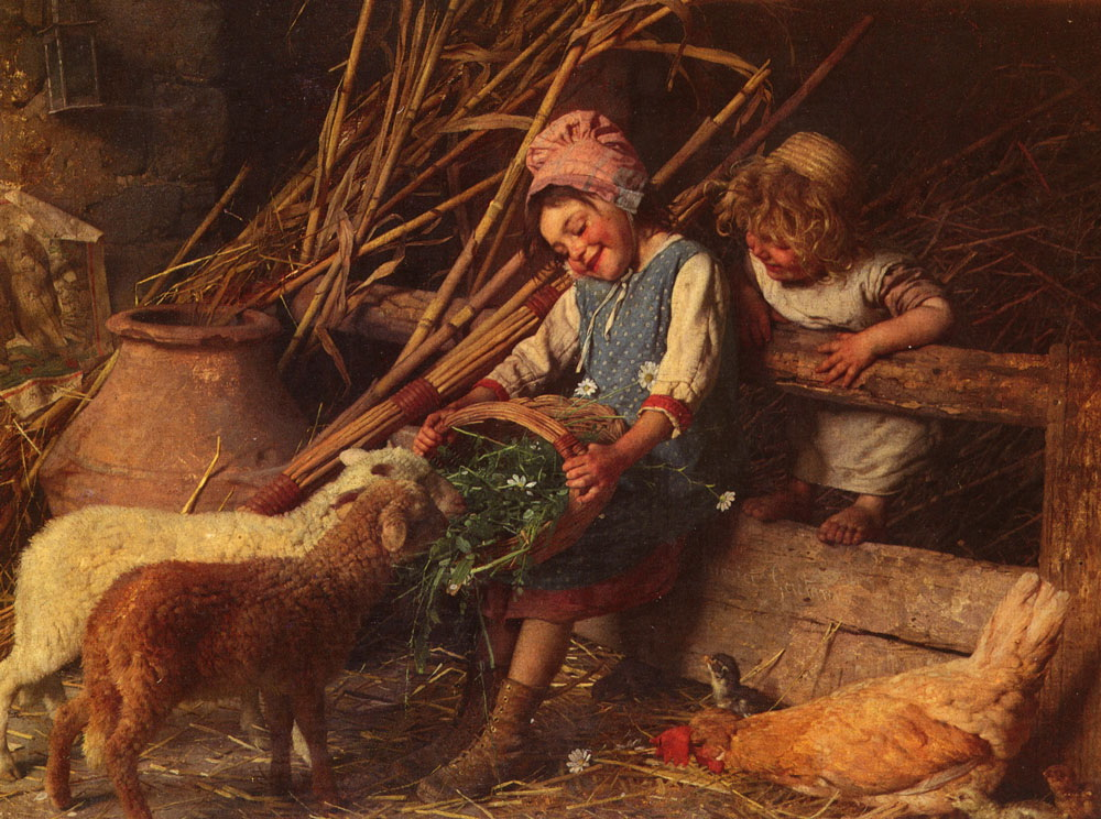 Feeding the Lambs :: Gaetano Chierici - Children's portrait in art and painting ôîòî