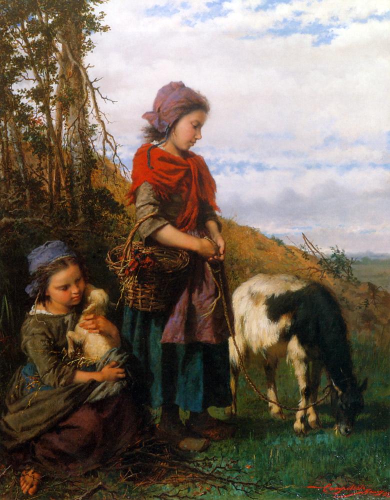 Deux jeunes bergeres :: Henry Campotosto - Children's portrait in art and painting ôîòî