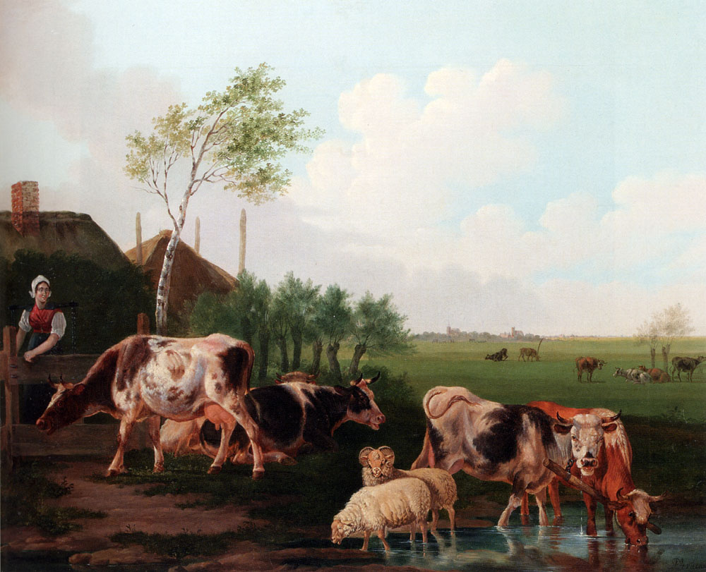 A Summer Landscape With Cows And Sheep By A Pool And A Milkmaid Watching :: Albertus Verhoesen  - Landscapes with cows ôîòî