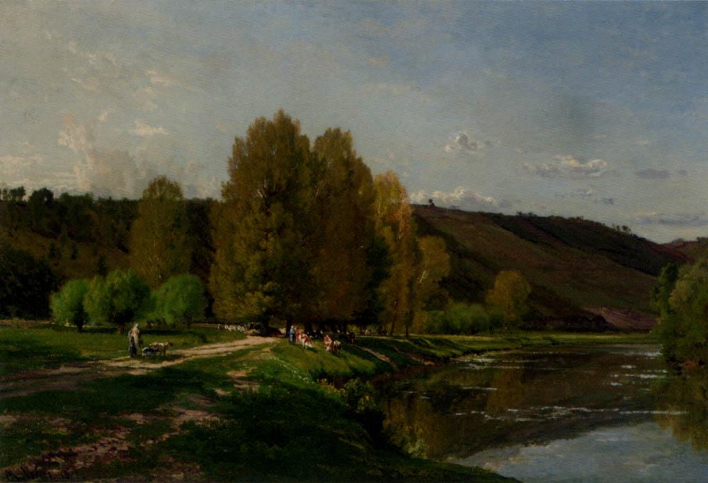 Cows Near a River :: Alexandre Rene Veron - Landscapes with cows ôîòî