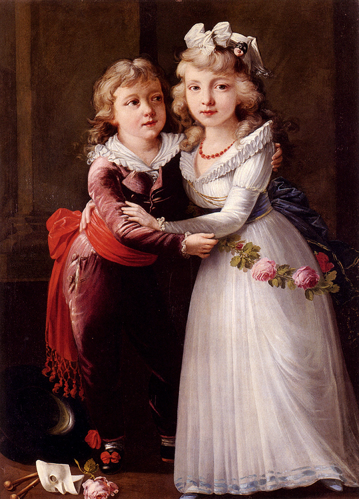 Portrait Of A Young Boy And Girl :: Joseph Dorffmeister - Children's portrait in art and painting ôîòî