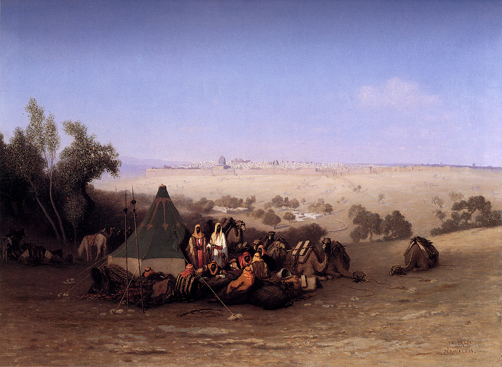 An Rab Encampment On The Mount Of Olives With Jerusalem Beyond :: Charles Theodore Frere - scenes of Oriental life (Orientalism) in art and painting ôîòî