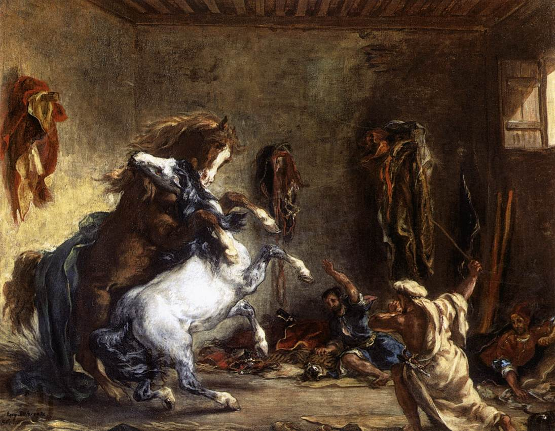 Arab Horses Fighting in a Stable :: Eugиne Delacroix - scenes of Oriental life (Orientalism) in art and painting ôîòî