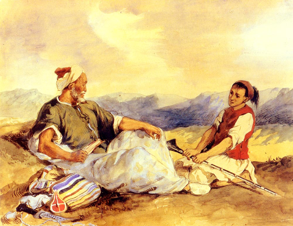 Two Moroccans Seated In The Countryside :: Eugиne Delacroix  - scenes of Oriental life (Orientalism) in art and painting ôîòî