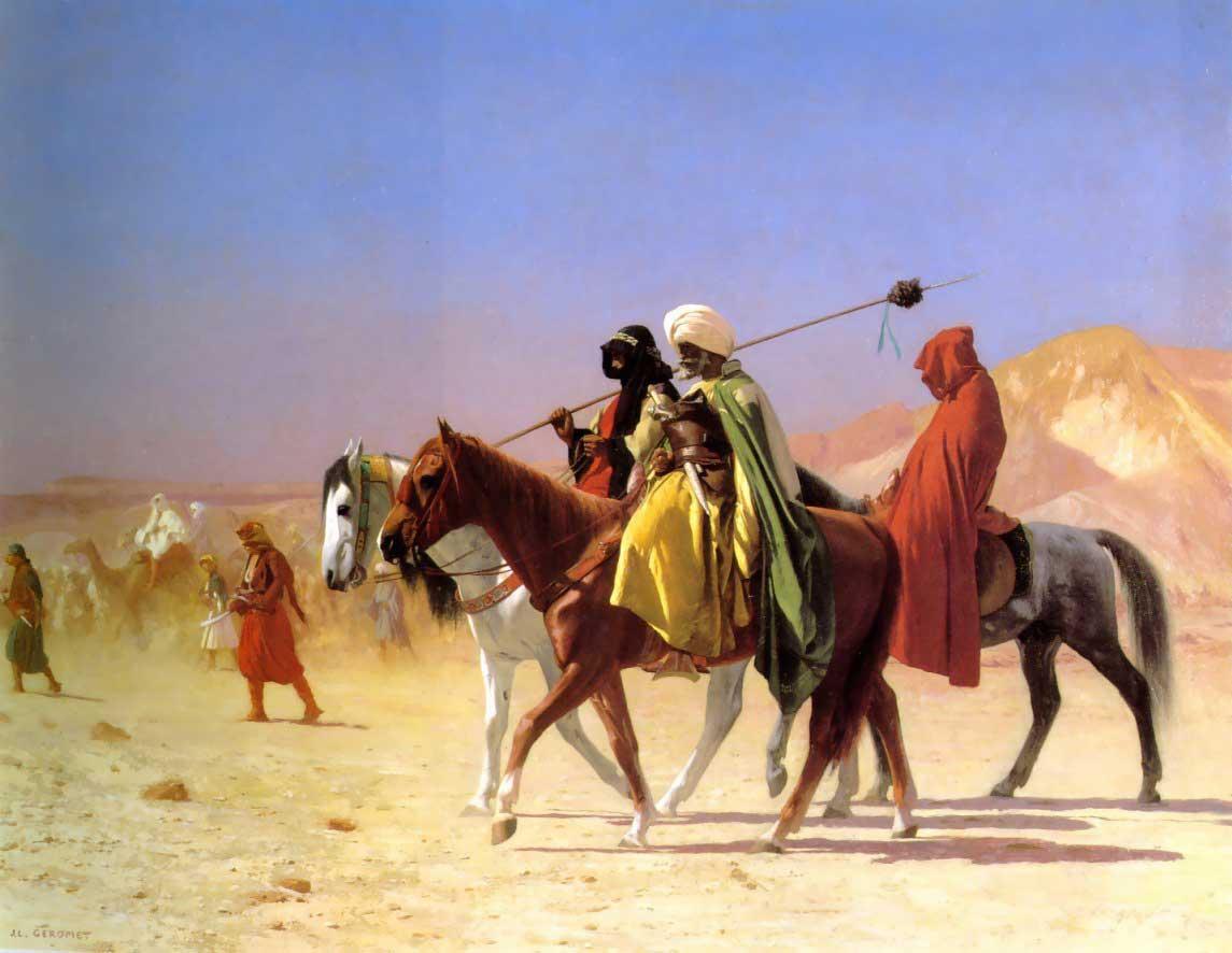Arabs Crossing the Desert  :: Jean-Leon Gerome - scenes of Oriental life (Orientalism) in art and painting ôîòî