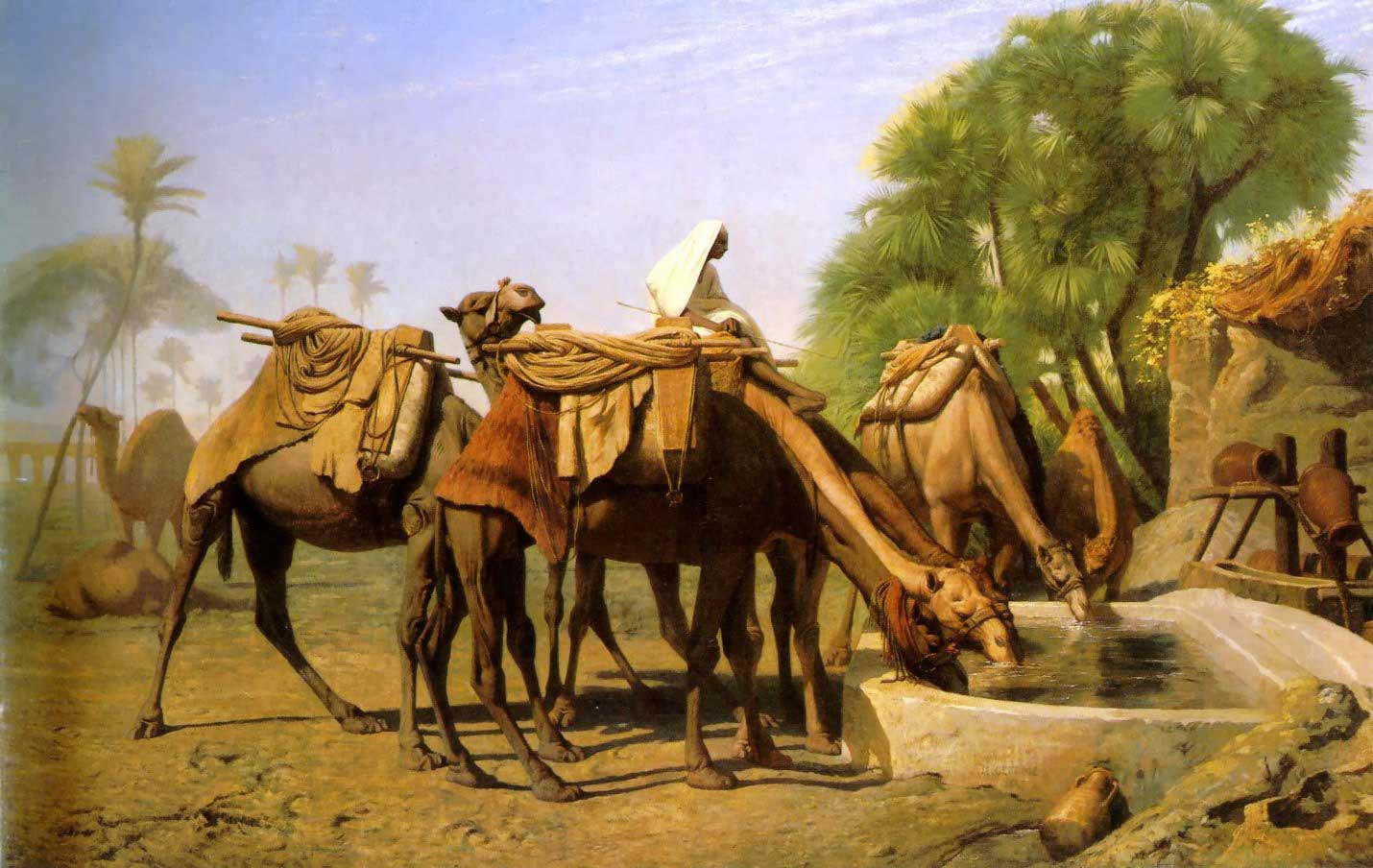 Camels at the Trough :: Jean-Leon Gerome - scenes of Oriental life (Orientalism) in art and painting ôîòî