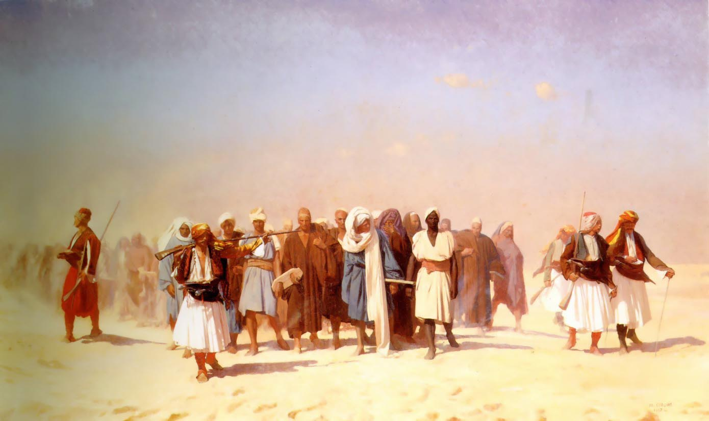 Egyptian Recruits Crossing the Desert  :: Jean-Leon Gerome - scenes of Oriental life (Orientalism) in art and painting ôîòî