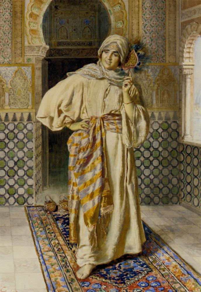 Oriental women in interior :: Antonio Gargiullo  - Arab women (Harem Life scenes) in art  and painting ôîòî