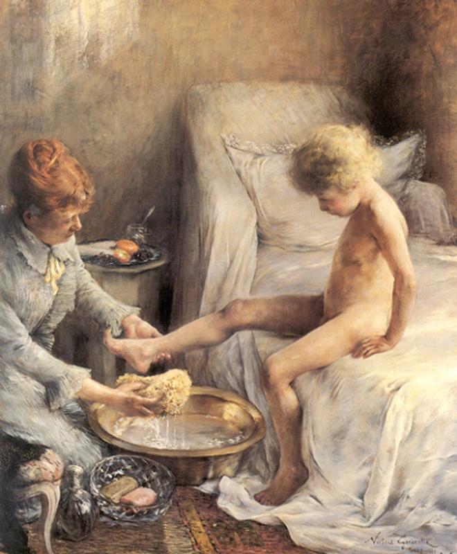 La Toilette de Jean Guerard :: Norbert Goeneutte - Children's portrait in art and painting ôîòî