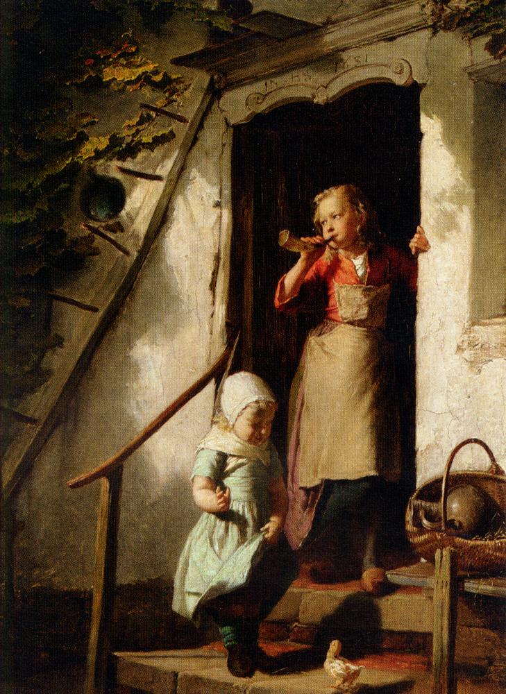 Feeding the Chicks :: Theodore Gerard - Children's portrait in art and painting ôîòî
