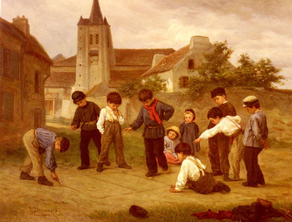 Hopscotch :: Theophile-Emmanuel Duverger - Children's portrait in art and painting ôîòî