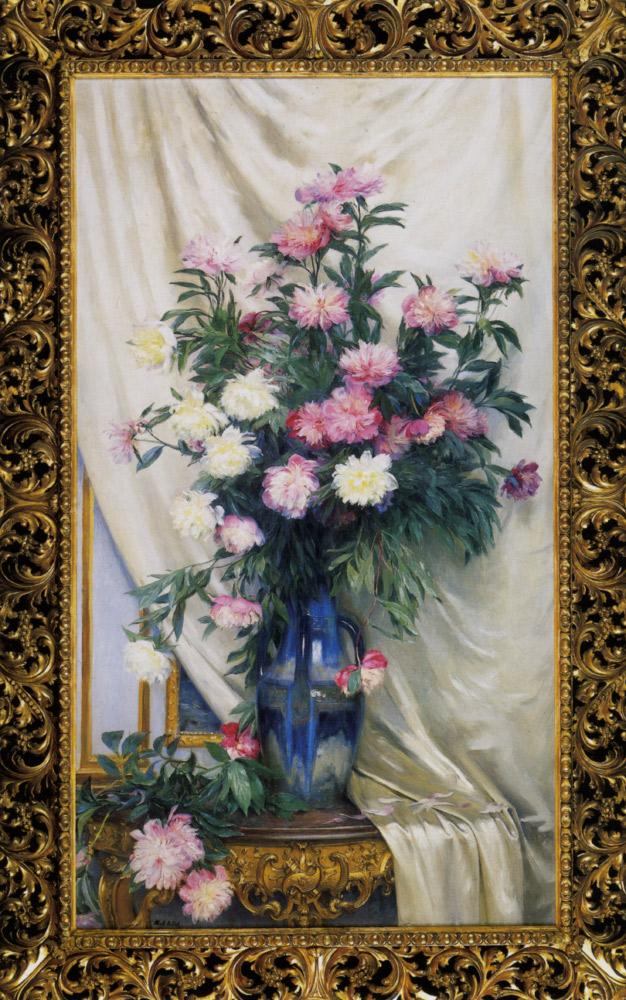 Peonies in a Blue Vase on a Draped Regency Giltwood Console Table :: Albert Aublet - flowers in painting ôîòî