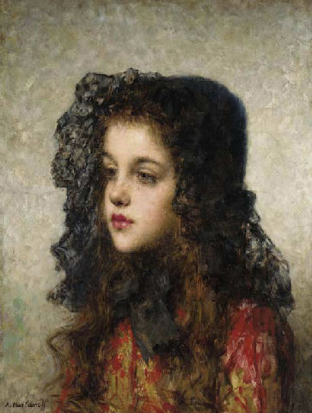 Little Girl with Head-dress :: Alexei Alexeivich Harlamoff - Portraits of young girls in art and painting ôîòî