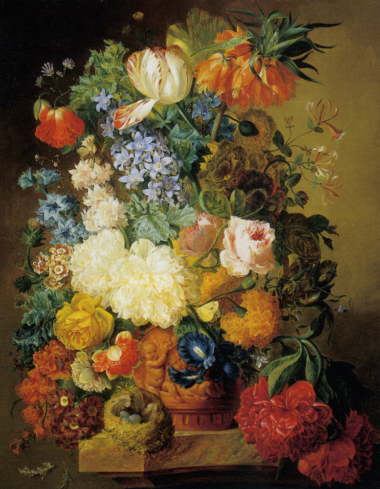 Tulips and other flowers in a Terraco Urn :: Amelie Levignes Peonies Roses - flowers in painting ôîòî