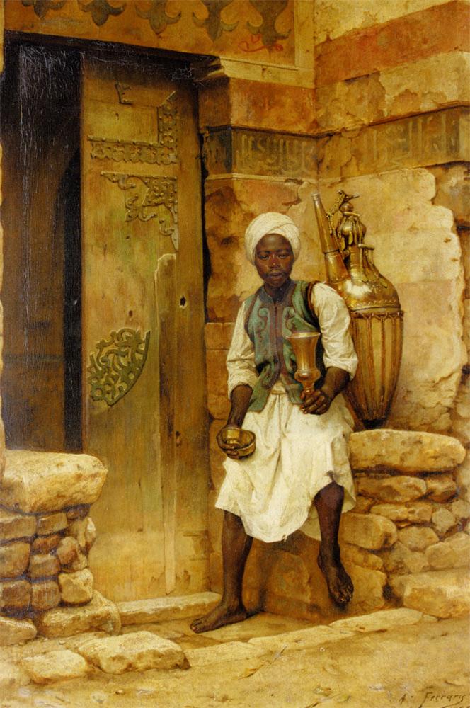 A Nubian Boy :: Arthur von Ferraris - scenes of Oriental life (Orientalism) in art and painting ôîòî
