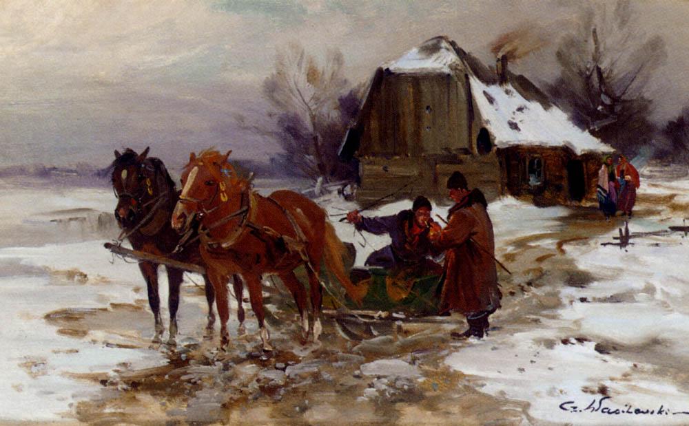 Troika Riders Smoking :: Czeslaw Wasilewski - Horses in art ôîòî