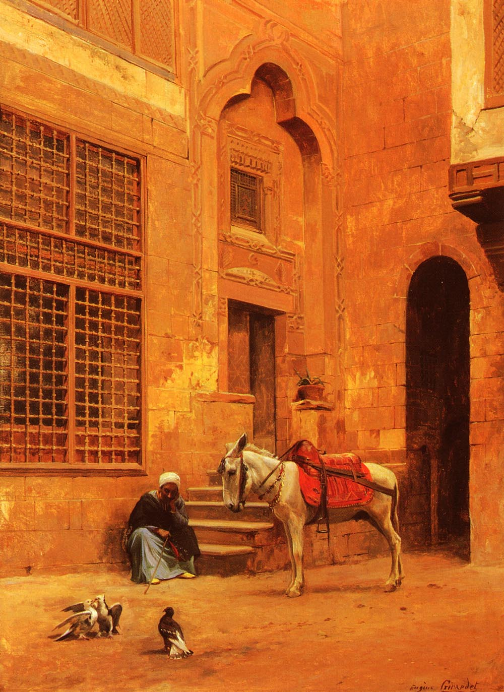 In The Courtyard :: Eugene-Alexis Girardet - scenes of Oriental life (Orientalism) in art and painting ôîòî