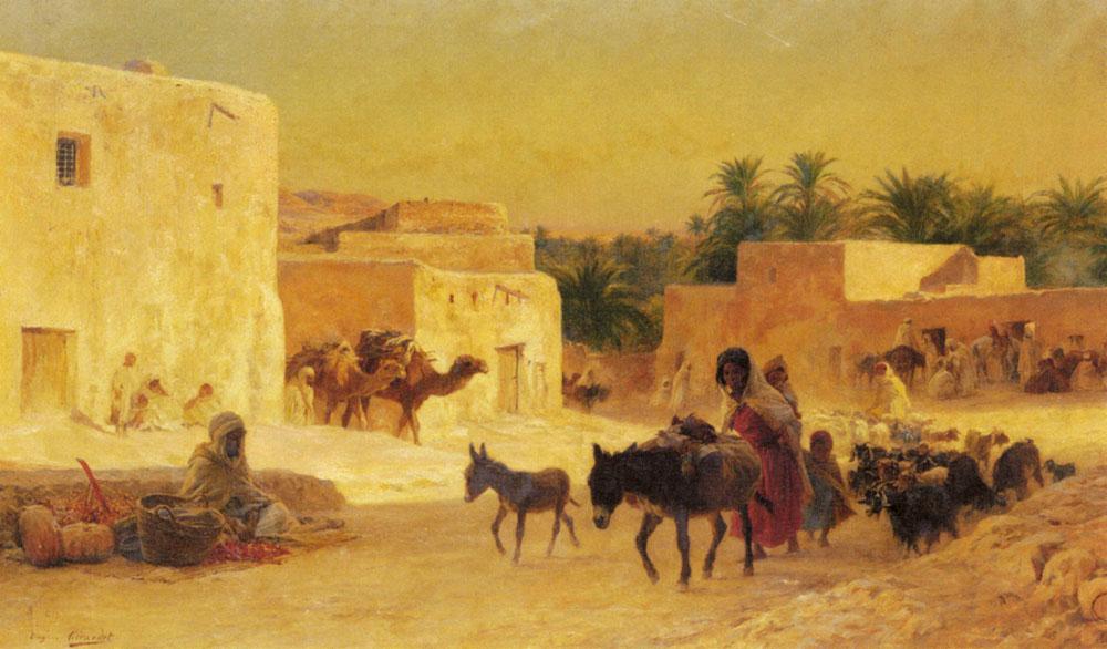 Leaving the Market :: Eugene-Alexis Girardet - scenes of Oriental life (Orientalism) in art and painting ôîòî