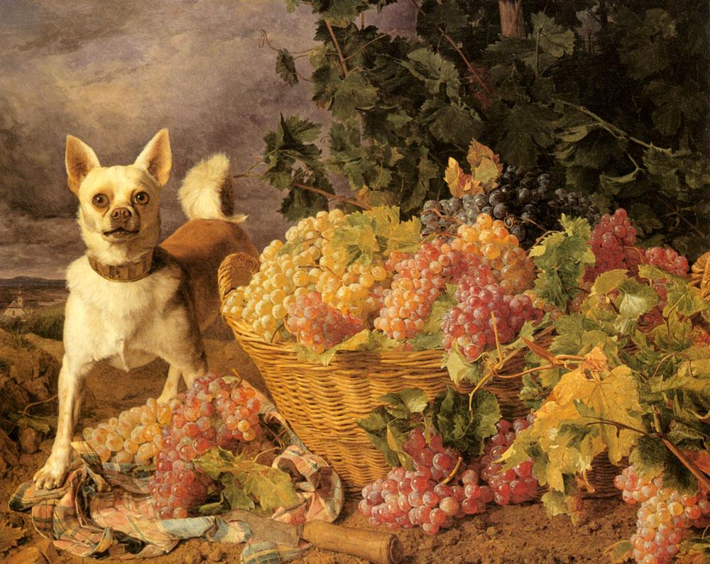 A Dog By A Basket Of Grapes In A Landscape :: Ferdinand Georg Waldmuller - Still-lives with fruit ôîòî