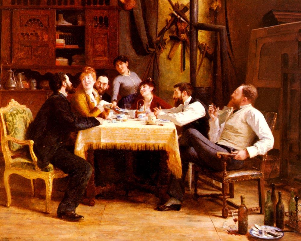 A luncheon Friends :: Fernand-Anne Piestre Cormon - Interiors in art and painting ôîòî
