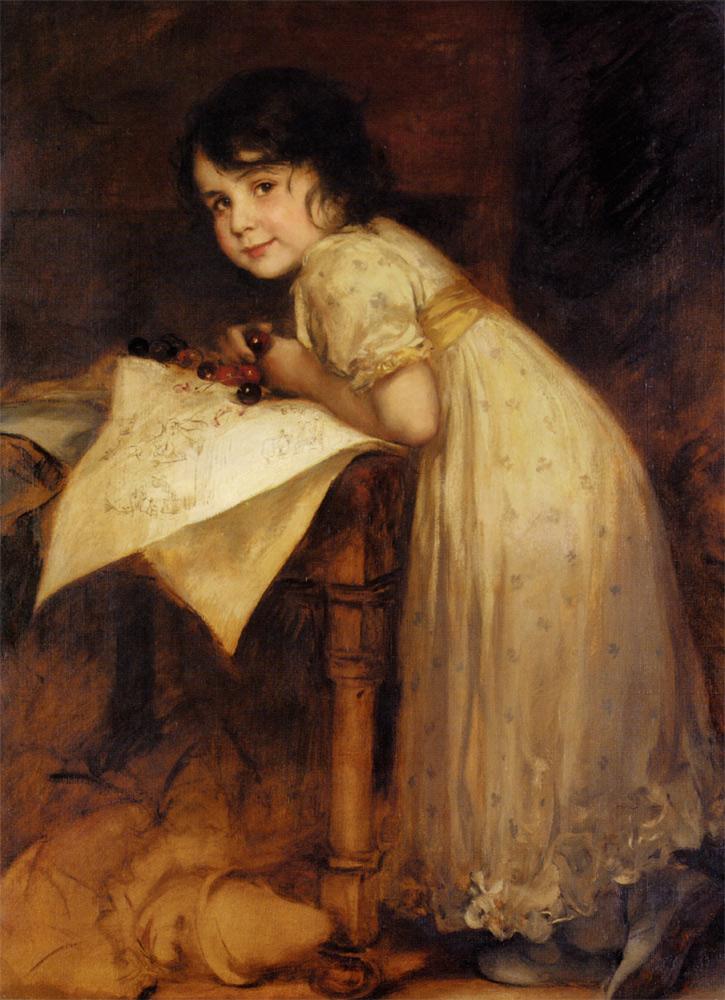 Cherries :: Friedrich August von Kaulbach - Portraits of young girls in art and painting ôîòî