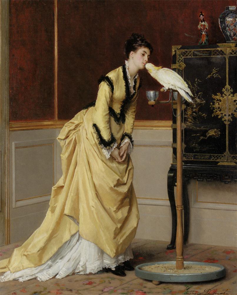 The Kiss :: Gustave Leonhard de Jonghe - Interiors in art and painting ôîòî