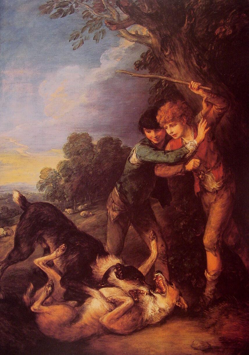 Shepherd Boys with Dogs Fighting :: Thomas Gainsborough - Children's portrait in art and painting ôîòî