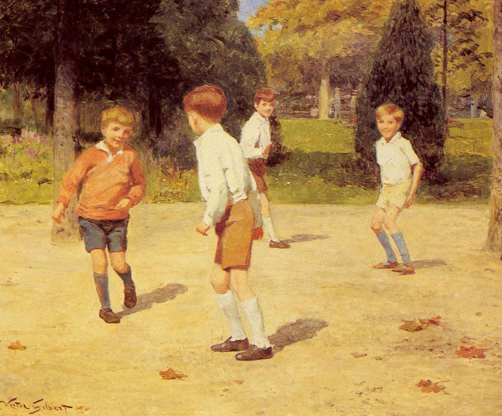 Boys Playing :: Victor Gabriel Gilbert - Children's portrait in art and painting ôîòî