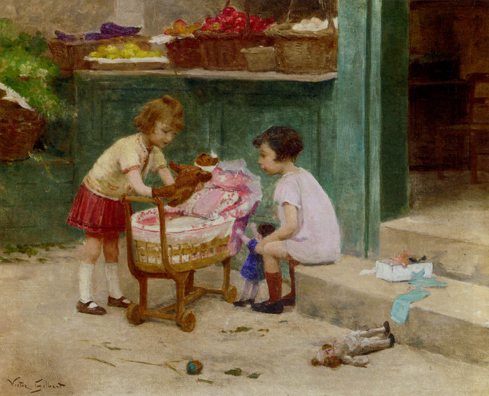 The favourite teddy bear victor gabriel gilbert for Paintings of toddlers