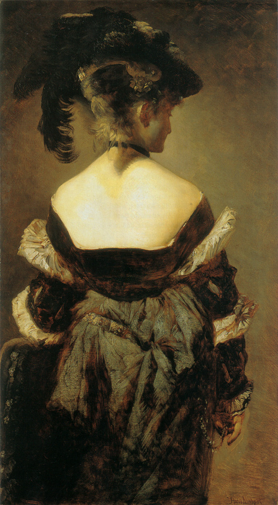 Lady with feathered hat jerk in view :: Hans Makart - 7 female portraits ( the end of 19 centuries ) in art and painting ôîòî