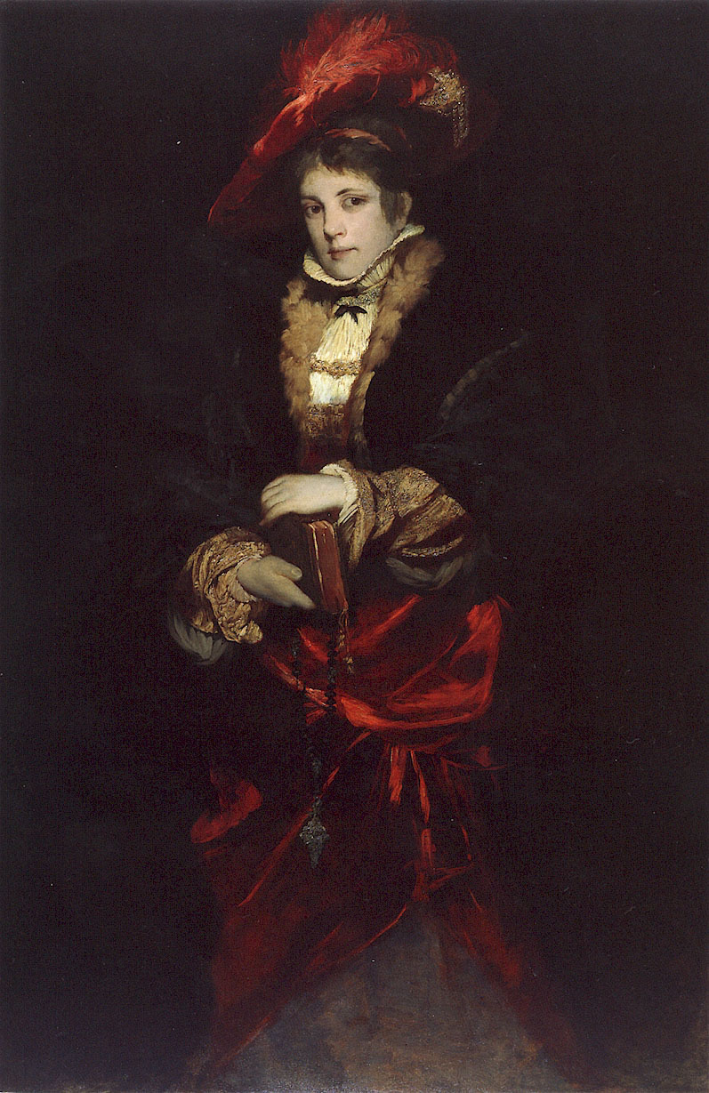 Portrait of a Lady with Red Plumed Hat :: Hans Makart - 7 female portraits ( the end of 19 centuries ) in art and painting ôîòî