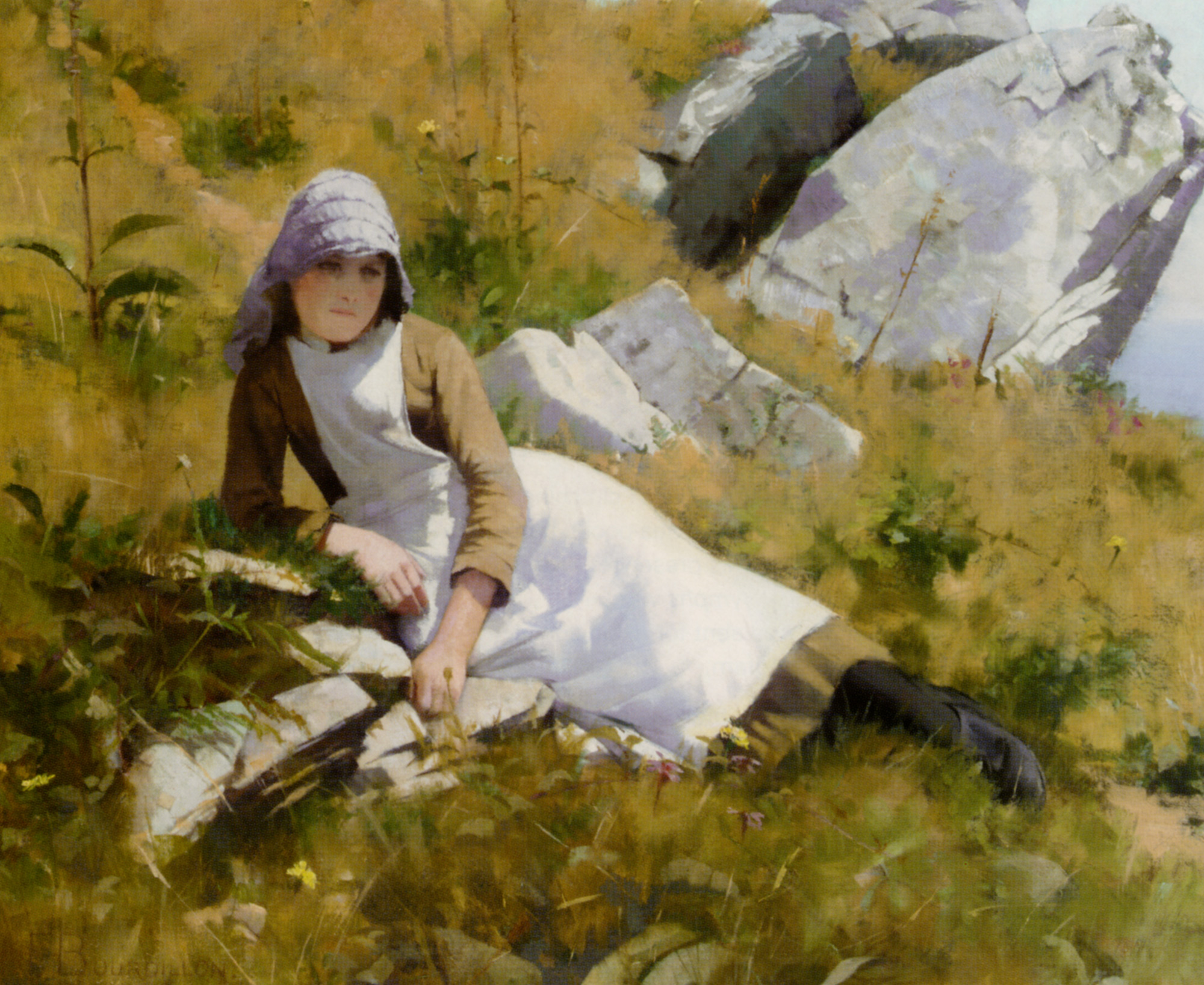 When Boats Are Away :: Frank Wright Bourdillon - Portraits of young girls in art and painting ôîòî