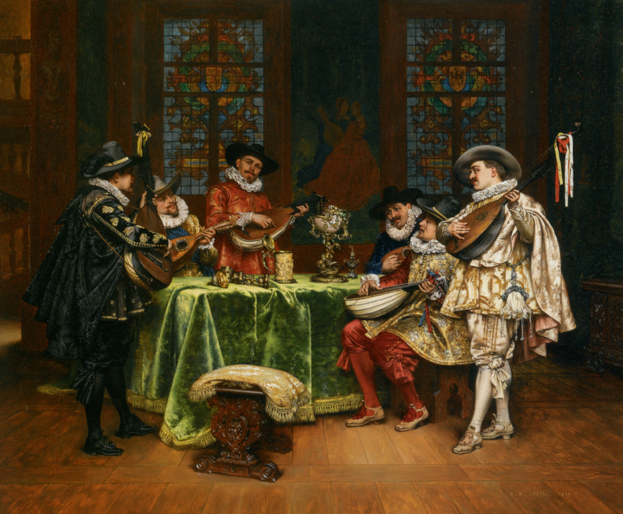 Interior with Troubadours :: Adolphe Alexandre Lesrel - Rich interiors ôîòî