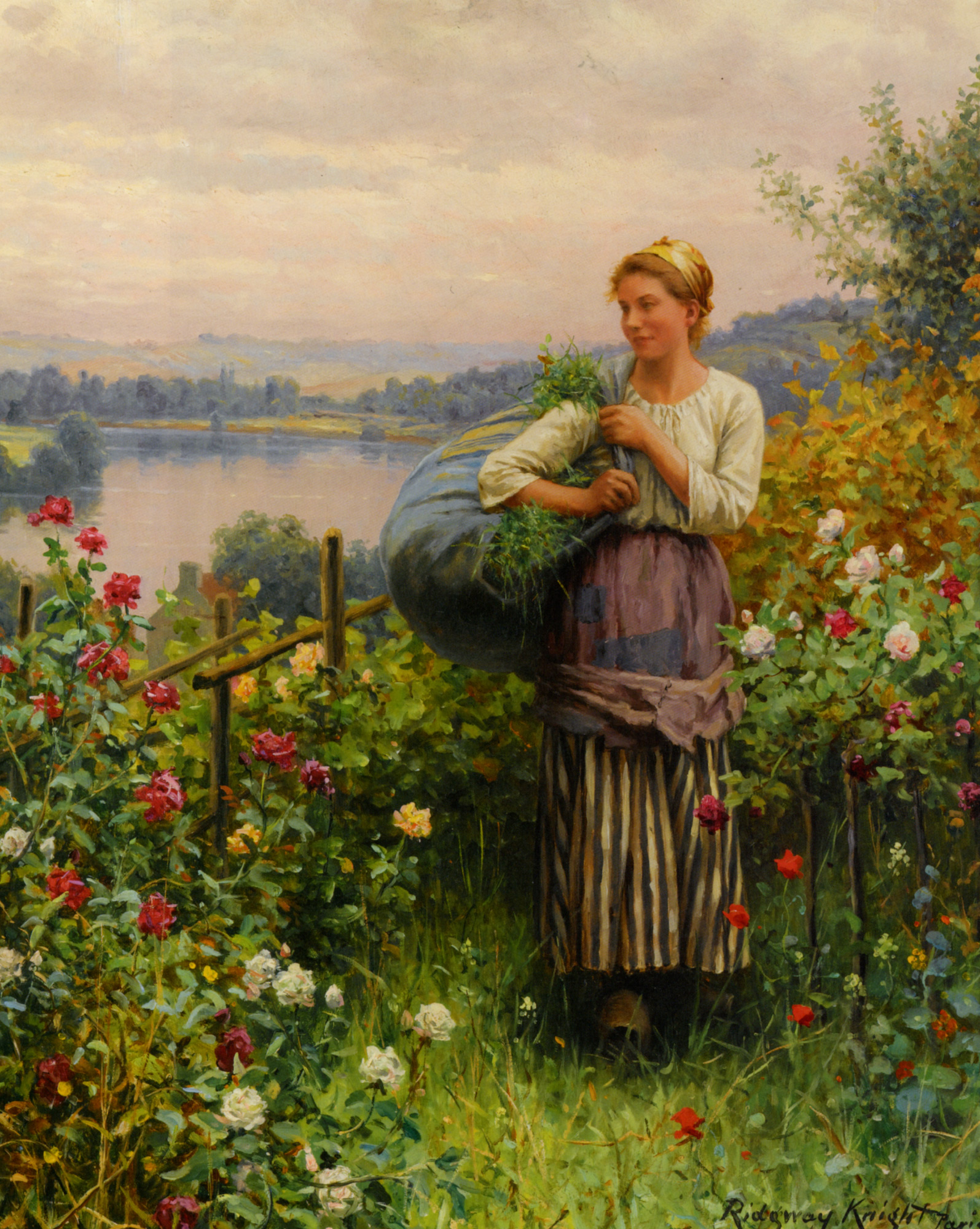 The Rose Garden :: Daniel Ridgway Knight - Summer landscapes and gardens ôîòî