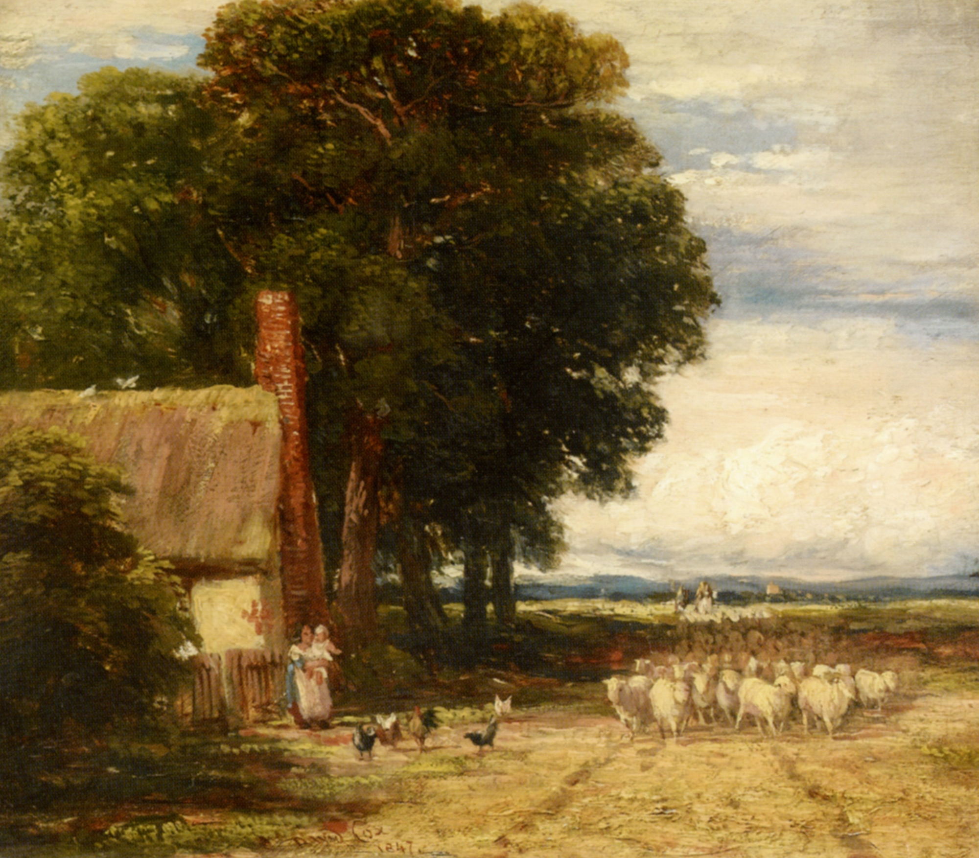 Landscape with a Shepherd and Sheep :: David Cox - Summer landscapes and gardens ôîòî
