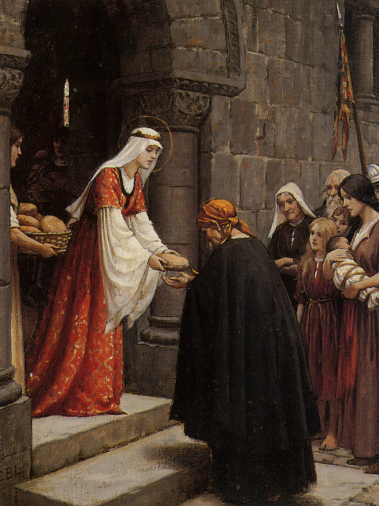 The Charity of Saint Elizabeth of Hungary :: Edmund Blair Leighton