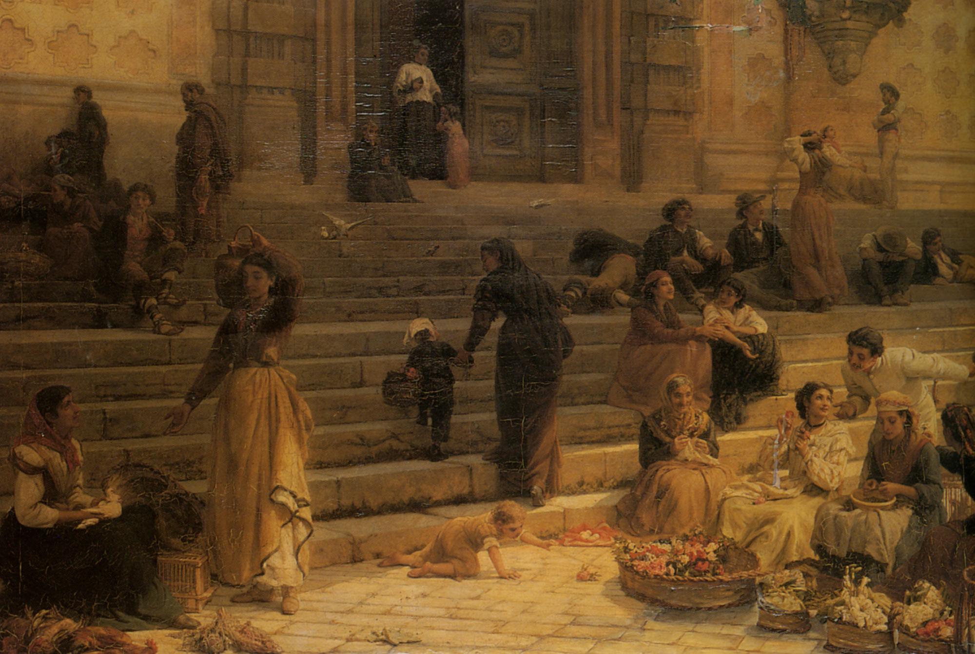 Market Day Perugia :: Frank William Warwick Topham - Antique world scenes ôîòî