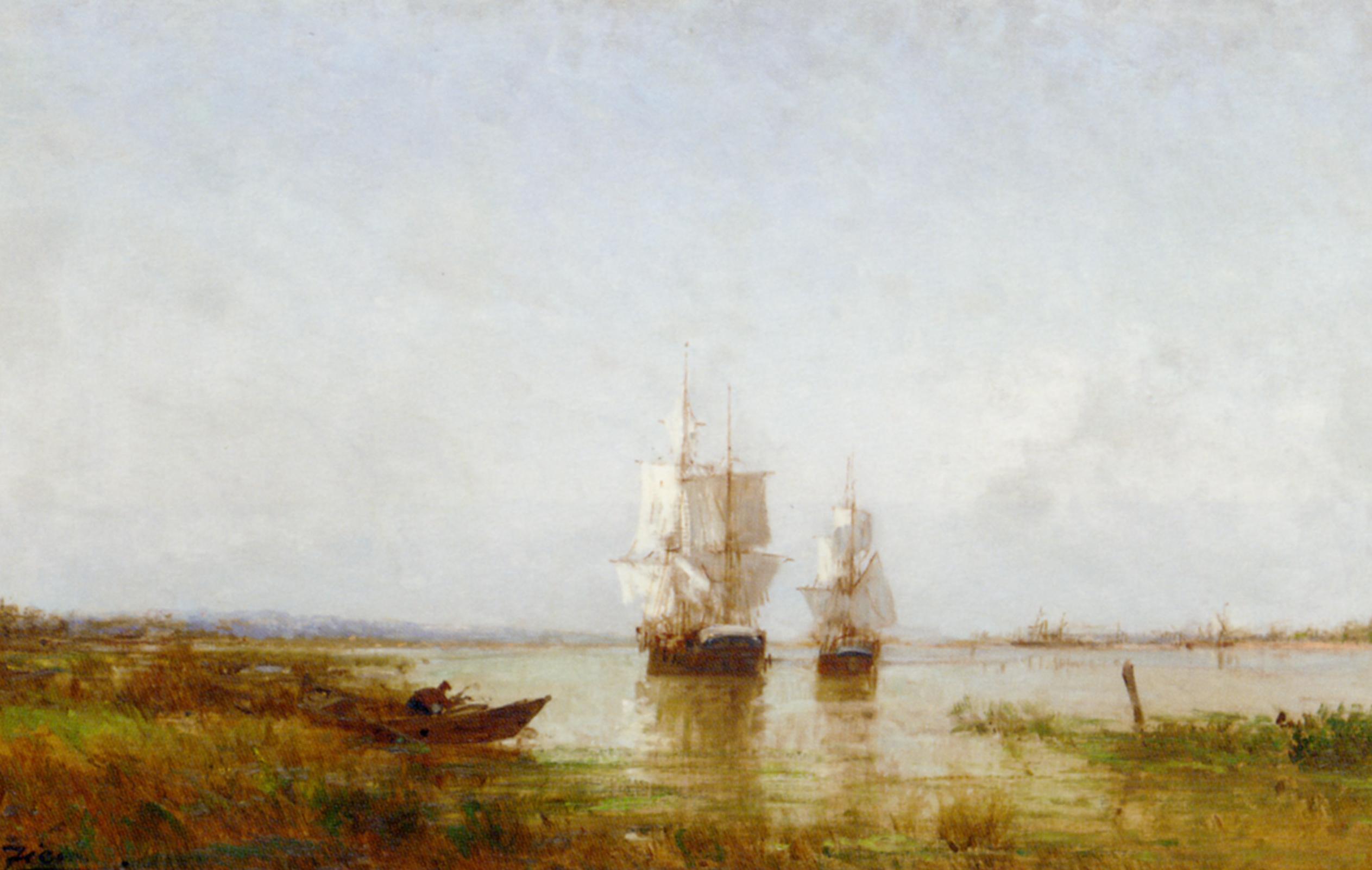 The Evening Calm :: Felix Francois Martigues Zeim - Sea landscapes with ships ôîòî