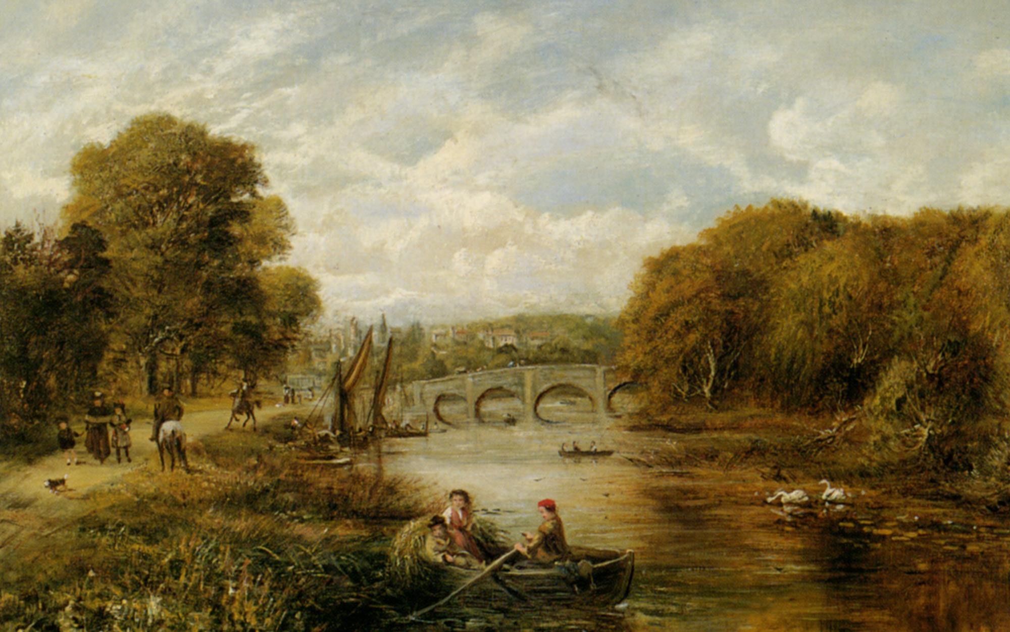 Shepherds Driving their Flock :: George William Mote - River landscapes ôîòî