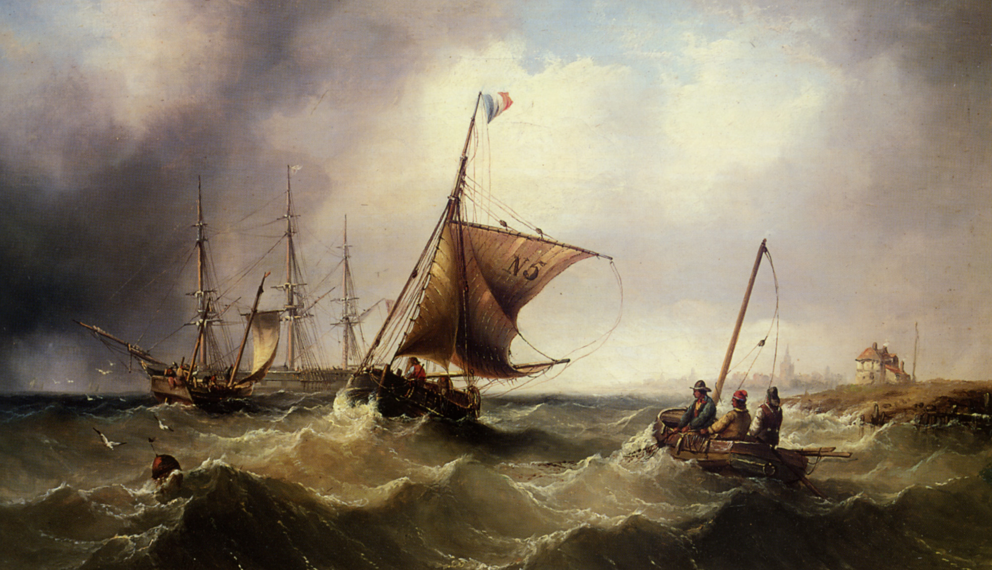 Fishing Vessels Heading Out to Sea :: Henry Redmore  - Sea landscapes with ships ôîòî