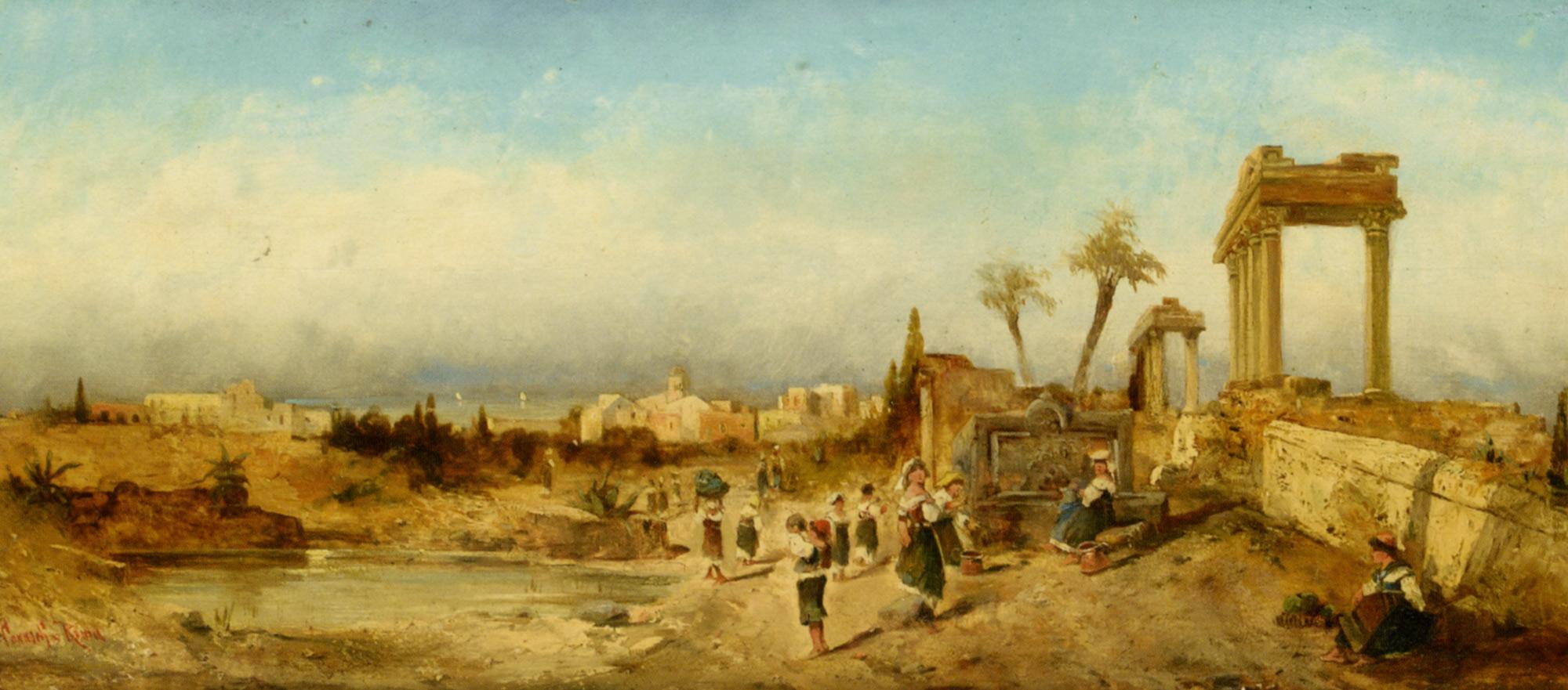 Fetching Water at a Fountain :: Hermann David Solomon Corrodi - Ruins ôîòî