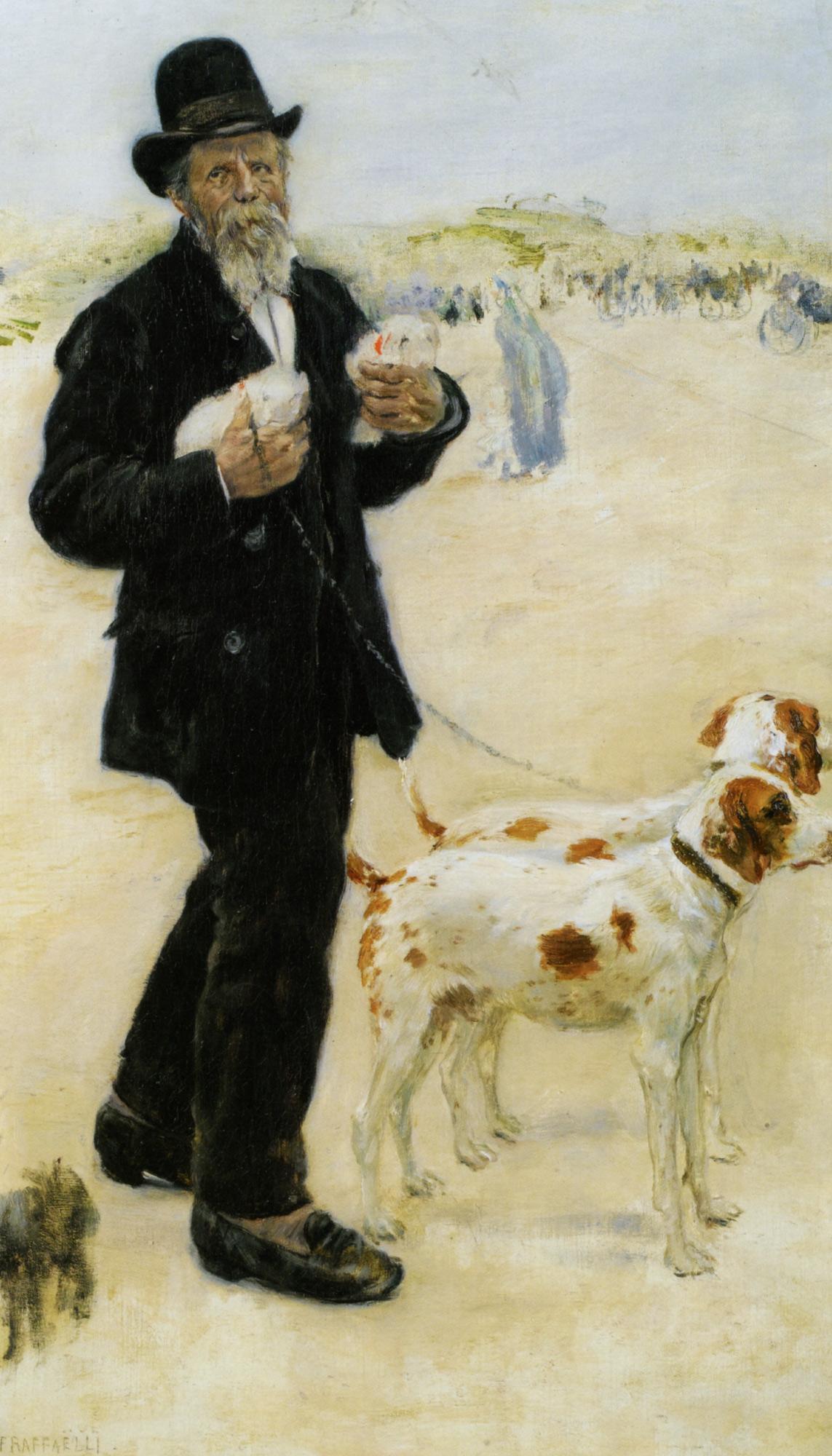 Man Walking Dogs :: Jean Francois Raffaelli  - Portraits of elderly men ôîòî