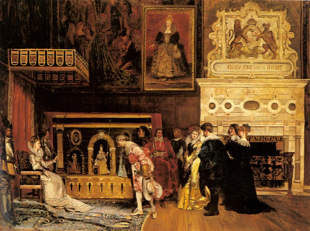 The Presentation at Court :: Ignacio Leon y Escosura - Rich interiors ôîòî