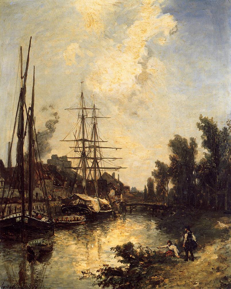 Boats Dockside :: Johan Barthold Jongkind - Sea landscapes with ships ôîòî