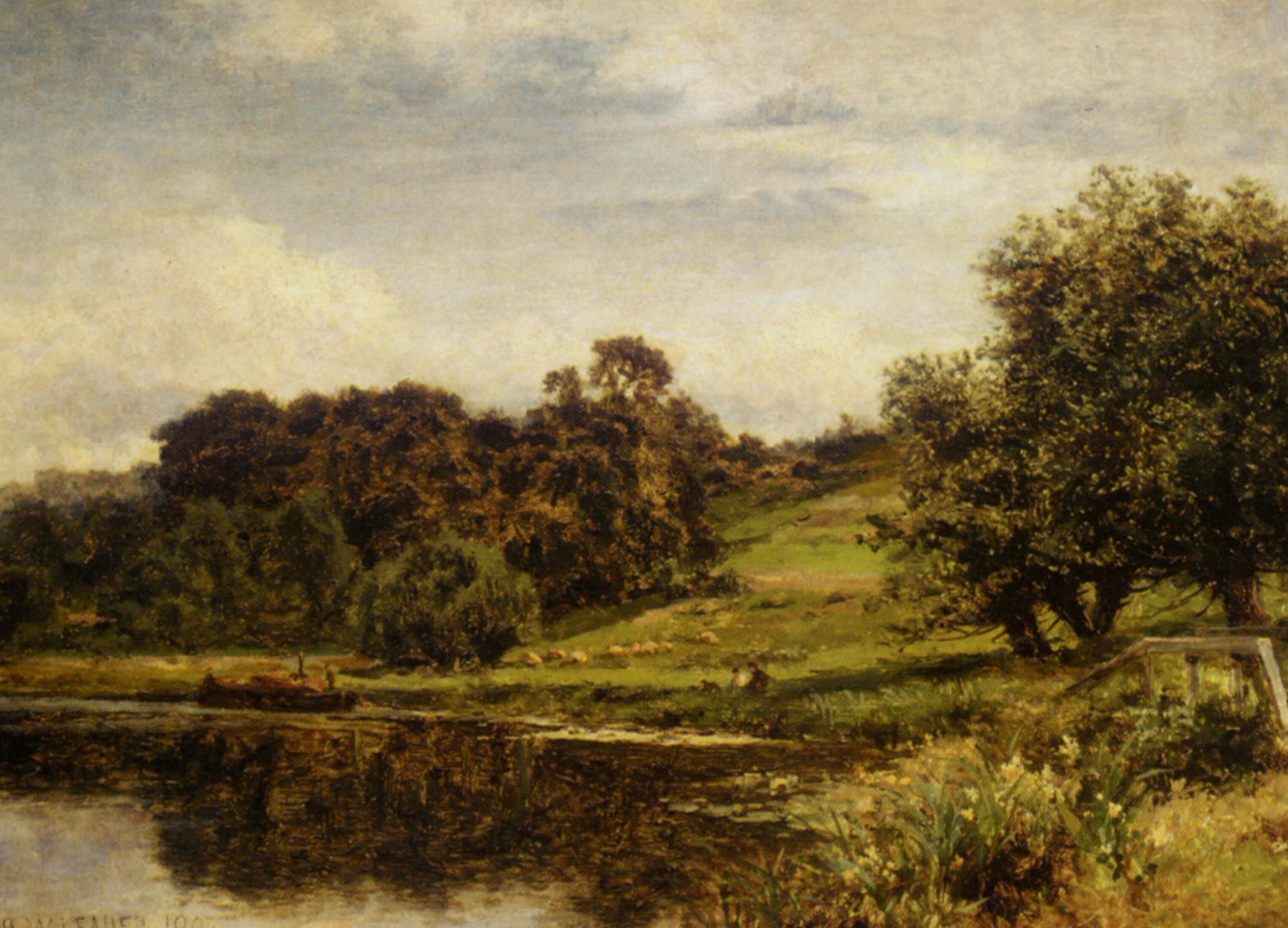 On The Thames at Shillingford :: Benjamin Williams Leader - River landscapes ôîòî