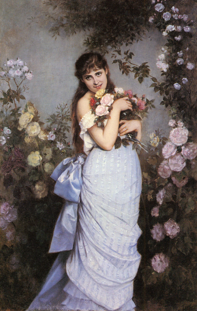 A Young Woman in a Rose Garden :: Auguste Toulmouche  - 7 female portraits ( the end of 19 centuries ) in art and painting ôîòî