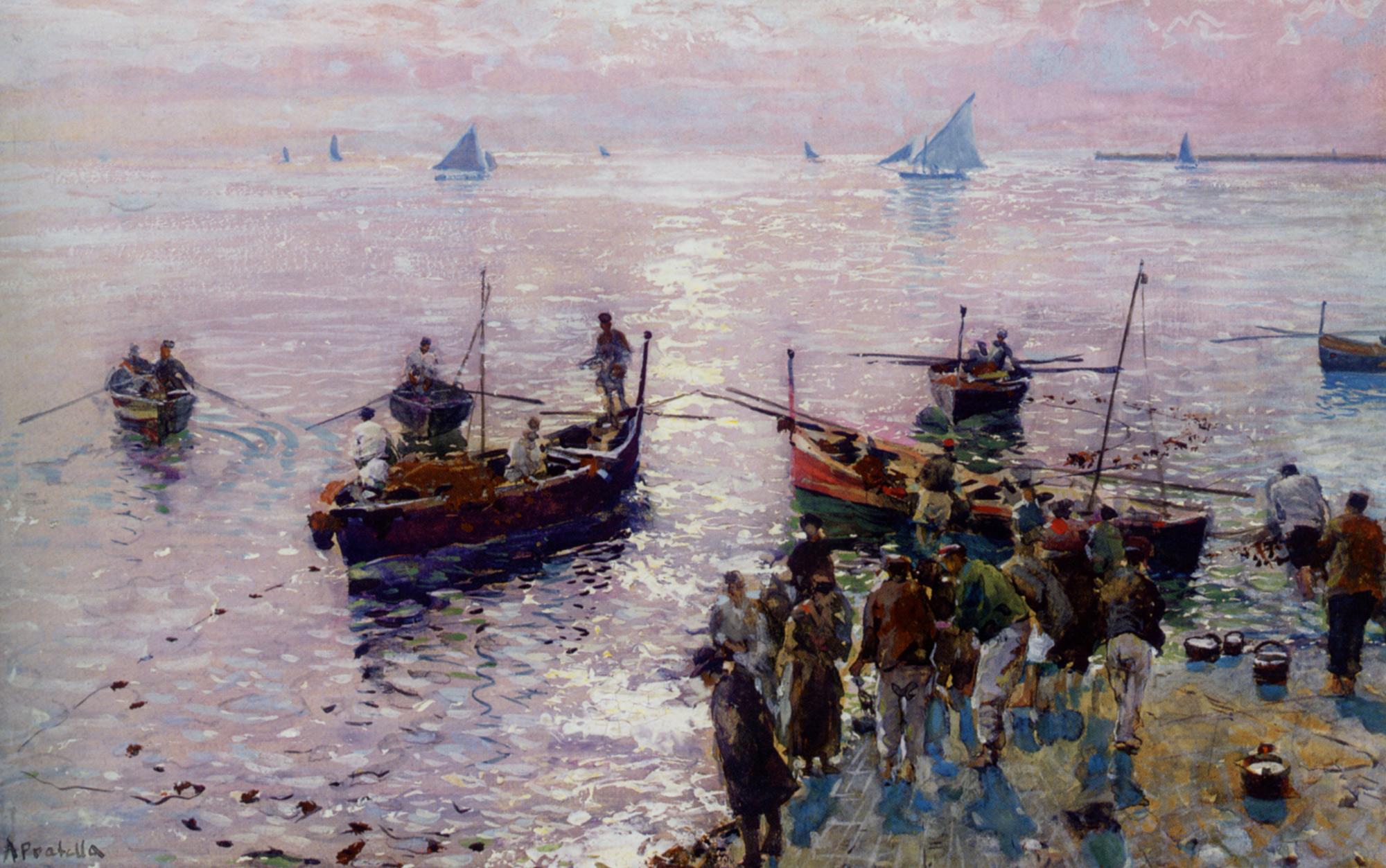 Loading The Boats at Dawn :: Attilio Pratella - Sea landscapes with boats ôîòî