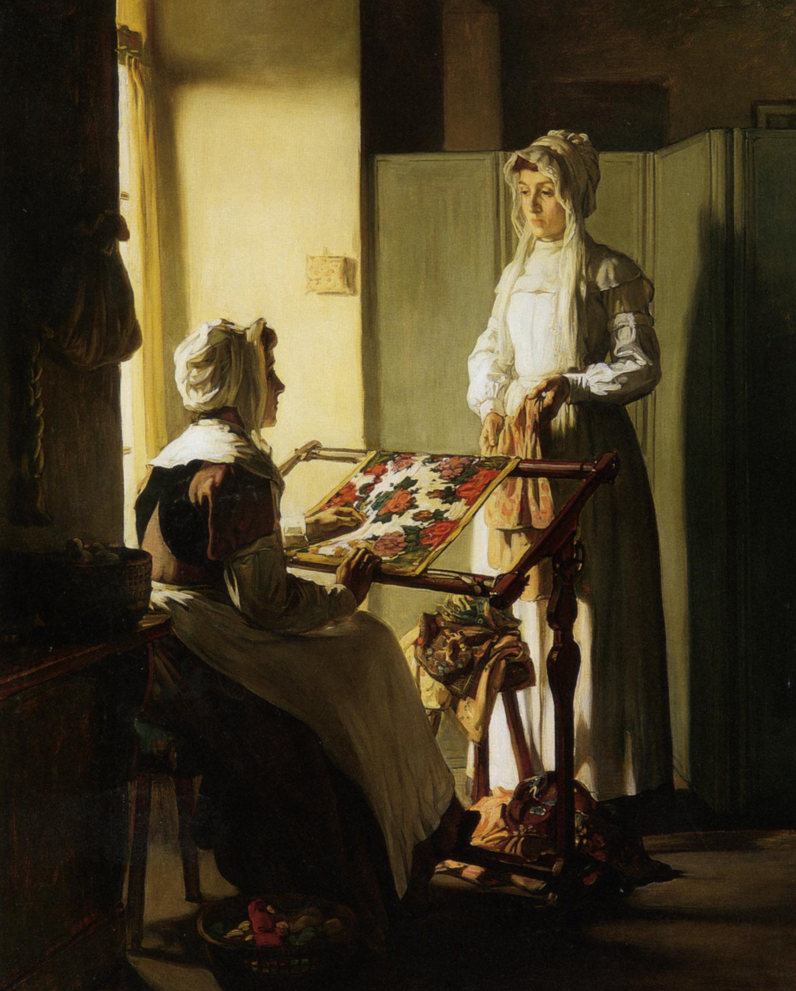 Early Morning Conversation :: Claude Joseph Bail - Interiors in art and painting ôîòî